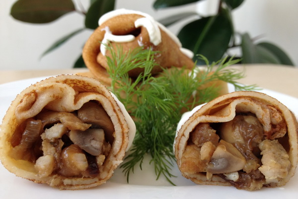 Рецепты блинчиков, фаршированных грибами