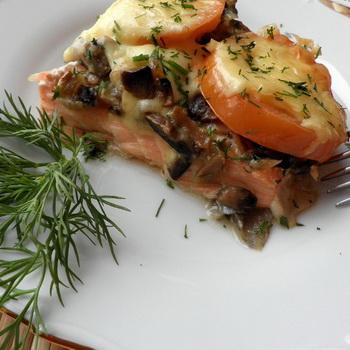 рецепты из красной рыбы в духовке с грибами #10